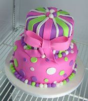 pink and purple polka dot girl's birthday cake with stripes
