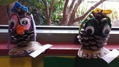 Pine cone owls by grade B Pinecone Owls, Grade 1, Pine Cones, Halloween, Friends, Decor, Art, Decoration, Craft Art