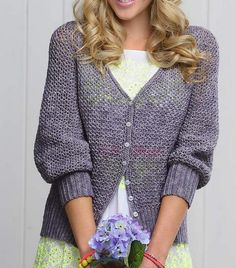 A pretty cardigan, perfect for layering in spring, summer and autumn. Using simple stitches and a seamless construction, this cardigan is almost as effortless to make as it is to wear.Sizes XS (S, M, L, 1X, 2X, 3X) To fit bust: 76 (86, 97, 107, 117, 127, 137) cm / 30 (34, 38, 42, 46, 50, 54) in Finished bust measurement: 82 (92, 102, 114, 123, 133, 142) cm / 32.5 (36.5, 40.5, 45, 48.5, 52.5, 56) Designed to be worn with approx 5 cm/2 in ease at bustMaterials 4 (4, 4, 5, 5, 6, 6...
