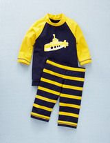 Yellow submarine rash guard & swimsuit at Miniboden