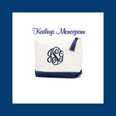 Cosmetic Make Up Bag Canvas Navy by KaileysMonogramShop on Etsy
