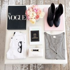Black and white, stripes, roses. #flatlay #spring