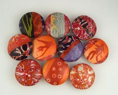Janice Abarbanel - polymer clay beads Varying patterns within same shape and within a palette of color.