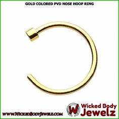Gold Colored PVD Nose Hoop Ring - 20 GA (0.8mm) - Sold as a Pair  https://wickedbodyjewelz.com/collections/hoop-nose-rings/products/bz01-nr-183-20    #GoldColorNoseHoopRing #WickedBodyJewelz
