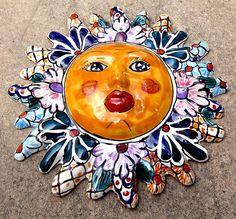 MEXICO MEXICAN TALAVERA TILE POTTERY WALL ART SUN FACE