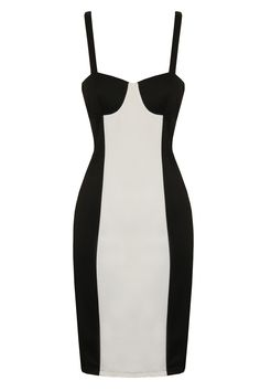 Black & White Panel Sexy Bodycon Illusion Dress £38