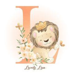 Illustration Blume, Watercolor Illustration, Baby Illustration, Watercolor Flower Background, Floral Watercolor, Doodles Bonitos, Baby Animal Drawings, Lion Drawing, Cute Lion
