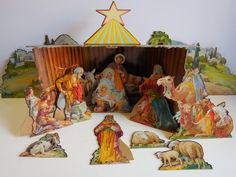 Vintage Nativity Creche Set Manger Christmas Crib by SalvageRelics