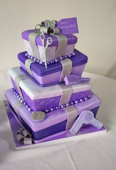 Gift Box Topsy Turvy Cake, made for a hairstylist, by La Bella Torta. (Purple!!) #purple
