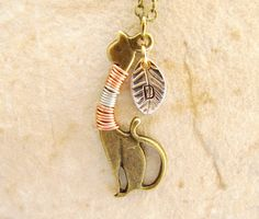 Antique Kitty Cat charm necklace initial necklace by 4Everinstyle, $22.00