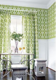 mudroom Thibaut Green Geometric Wallpaper - Meredith Heron Design