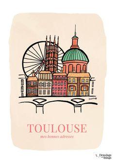 Mes bonnes adresses Toulousaines #1 © Blog Drawings and things #Toulouse #visiteztoulouse Toulouse Ville Rose, Toulouse France, Illustrations Vintage, Travel Ads, Modern Retro, Vintage Travel Posters, Scrapbook, Drawings, Blog