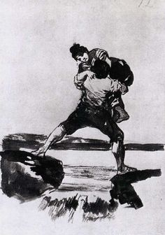 Francisco Goya, Peasant Carrying a Woman, 1812-23. Sepia wash, 205 x 143 mm  on ArtStack #francisco-goya #art