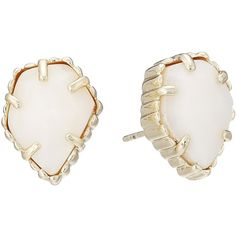 Kendra Scott Tessa Earring (Gold/White MOP) Earring (€45) ❤ liked on Polyvore featuring jewelry, earrings, 14k gold jewelry, yellow gold stud earrings, white stud earrings, post earrings and white earrings