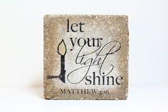 let your light shine. Concrete Stone, Concrete Pavers, Diy Concrete, Painted Pavers, Painted Bricks, Brick Crafts, Let Your Light Shine, Brick And Wood