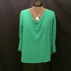 Beautiful Knit Top From Anthropologie Cowl neck thin knit top by Guinevere from Anthropologie. You can see in the pics that it should be worn with something underneath it. Slightly oversized, drop shoulder, & 3/4 sleeves. Hi-Lo hemline. Kind of a sea green color, pic #2 shows a good close up in natural light to see. No signs of wear or tear, in excellent condition! This is an Absolutely Adorable Top!!  Anthropologie Tops