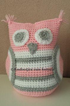 Crocheted door stopper owl Gehaakte deurstopper uil