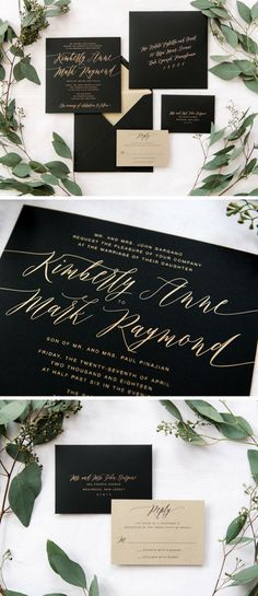 "Striking and sweet, Jaclyn is a matte black and gold wedding invitation suite. Featuring a 7.5"" x 7.5"" square invitation, the playful gold script makes a fantastic first impression. Guests will receive a two-ply invitation in an envelope lined with gold paper and complete with return addressing."