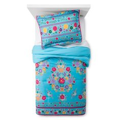 Add cheer to any room with the Fiesta Comforter Set from Pillowfort. This sham and comforter set has bright colors and floral designs with a delightful pom-pom edging on the sham. Big Girl Rooms, Kids Rooms, Girls Bedroom, Bedroom Ideas, Bedrooms, Textile Patterns, Textiles, Comforter Sets, Bedding