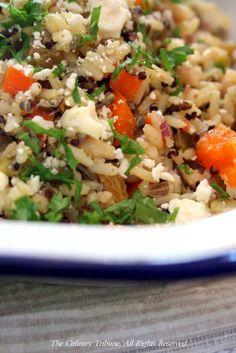 Grain salad with feta and golden raisins