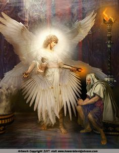 Angel Art: Contemporary realistic paintings and pictures of Angels by Howard David Johnson in Oil,acrylic, prismacolor and digital media. Seraph Angel, Seraphin, Angel Warrior, Ange Demon, Prophetic Art, Biblical Art, Realistic Paintings, Art Paintings, Angel Pictures