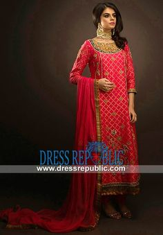 Red Pakistani Dress With Boat Neck And Three Quarter Sleeves