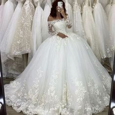 Vintage Long Sleeve Lace wedding dress,Princess Backless Bridal Gown · KProm · Online Store Powered by Storenvy Cute Wedding Dress, Long Wedding Dresses, Princess Wedding Dresses, Tulle Wedding, Bridal Dresses, Gown Wedding, Ballroom Wedding Dresses, Wedding Frocks, Disney Wedding Dresses