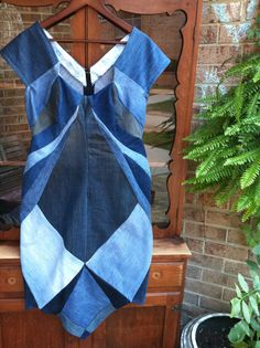 Recycled denim dress going green