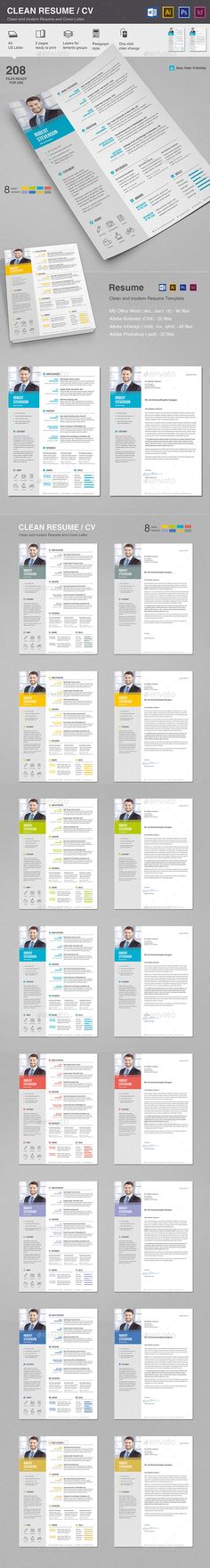 Clean Resume \/ CV Resume cv and Ai illustrator - illustrator resume