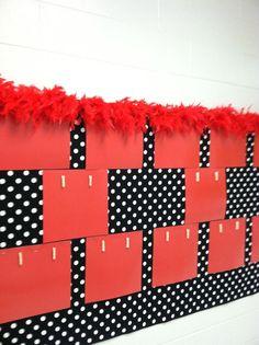 Bulletin Board to Display student work-like the feather boa at the top. Polka Dot Classroom, Disney Classroom, Classroom Bulletin Boards, Science Classroom, School Classroom, School Fun, Classroom Design, Classroom Themes, Classroom Organization