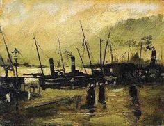 1885 Vincent van Gogh - De Ruijterkade in Amsterdam