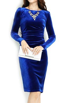 Women's Fashion Charming Long-Sleeves Velvet Dress - OASAP.com LABOR DAY SALE EVENT up to 90 OFF. 21% Off Coupon: Labor2014