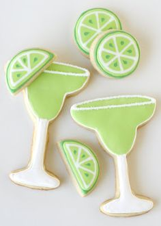 Margarita Cookies {Decorating How-To} » Glorious Treats. Adorable for a bridal shower or low key bachelorette party!