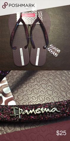 NWT Dark Purple Glitter Ipanema Flip Flops In perfect condition, new with tags. I have a pair of Ipanema flip flops and they have lasted me for years because they are made out of rubber while low quality flip flops are made of foam! The color is beautiful in person and the pictures don't do any justice! Ipanema Shoes Purple Glitter, Dark Purple, Ipanema Flip Flops, Glitter Flip Flops, Uni Life, Fashion Tips, Fashion Design, Fashion Trends, Making Out