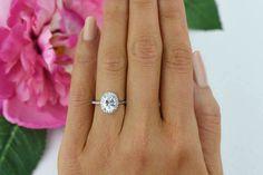 1.5 ctw Oval Bridal Ring Pave Wedding Ring Man by TigerGemstones