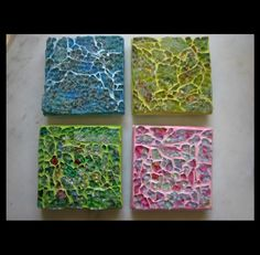 Coasters, tempered glass over foils, paints, glitter, ribbon. Grout color washed with acrylic paints. Glitter Grout, Glitter Vans, Glitter Gif, Glitter Ribbon, Glitter Curtains, Glitter Leggings, Cozy House, Glass Beads, Coasters