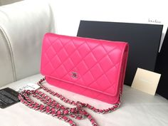 NEW 14S CHANEL Wallet On Chain WOC FUCHSIA PINK LAMBSKIN LEATHER SILVER HARDWARE #CHANEL #MessengerCrossBodyClutch
