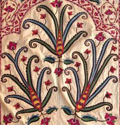 uzbek suzani detail, 19th c. silk embroidery, Uzbekistan