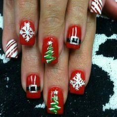 Very Cute Nail Designs for Christmas Party - Christmas Nail Art Designs - Fancy Nails, Diy Nails, Pretty Nails, Christmas Nail Art Designs, Holiday Nail Art, Christmas Ideas, Christmas Night, Winter Nail Designs, Christmas Pictures