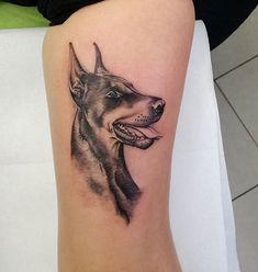 14 Gorgeous Dog Tattoos For True Doberman Pinscher Lovers Dog Tattoos, Animal Tattoos, Body Art Tattoos, I Tattoo, Sleeve Tattoos, Dobermann Tattoo, Tattoo Bauch, Doberman Pinscher, Drawing Sketches