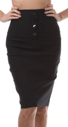 Petite High Waist Stretch Pencil Skirt with Four Button Detail $21.99 (save $28.00)