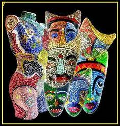 Masks Glass Mosaic | Flickr by Jadedgold1