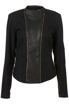 Black PU Panel Biker Jacket - StyleSays
