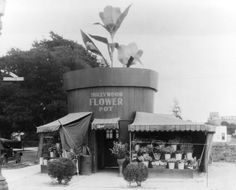 The Hollywood Flower Pot in 1920. One source said that the shop was once located at 1124 N. Vine Street while another source said it was located at 1100 N. Vine, which would have been the corner of Vine and Santa Monica Blvd. Either way, it appears to be a defunct address. (LAPL)  Bizarre Los Angeles.