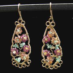 Sapphire Emerald Garnet Flower Earrings, 14K GF Wire Wrapped | bohowirewrapped - Jewelry on ArtFire