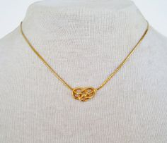Vintage 1980 Minimalist Traditional Signed Avon Love Knot Goldtone Herringbone Chain Necklace in Original Box by ThePaisleyUnicorn, $10.00