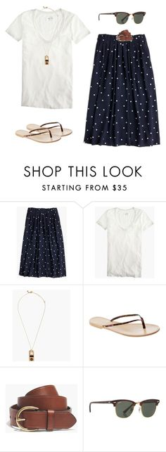 """J.Crew Pleated Midi Skirt"" by tjmcd ❤ liked on Polyvore featuring J.Crew, Madewell and Ray-Ban"
