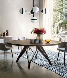 Dining Table Design, Round Dining Table, Small Space Design, Small Spaces, Dream Home Design, House Design, Studio Apartment Design, Layout, Restaurant