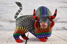 A1136 Bull Alebrije Oaxacan Wood Carving Painting Handcrafted Folk Art Mexican C