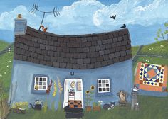 'The Blue Cottage' By Painter Valeriane Leblond. Blank Art Cards By Green Pebble. www.greenpebble.co.uk